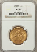 Liberty Eagles: , 1893-S $10 MS62 NGC. NGC Census: (133/17). PCGS Population(155/50). Mintage: 141,350. Numismedia Wsl. Price for problem fr...