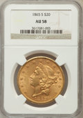 Liberty Double Eagles: , 1865-S $20 AU58 NGC. NGC Census: (108/457). PCGS Population(33/461). Mintage: 1,042,500. Numismedia Wsl. Price for problem...