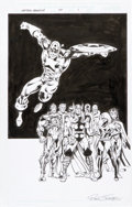 Original Comic Art:Splash Pages, Dan Jurgens and Bob Layton Captain America #47 AvengersSplash Page 1 Original Art (Marvel, 2001)....