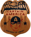 Memorabilia:Comic-Related, Captain America Enameled Copper Member's Badge (1941)....