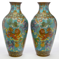 A PAIR OF MONUMENTAL CHINESE CLOISONNÉ PALACE VASES Maker unknown, Chinese, Qing dynasty 41 inches high x 10-1