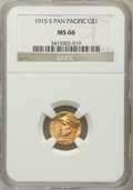 Commemorative Gold: , 1915-S G$1 Panama-Pacific Gold Dollar MS66 NGC. NGC Census:(612/60). PCGS Population (730/51). Mintage: 15,000. Numismedia...