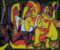 Prints, PABLO PICASSO (Spanish, 1881-1973). Déjeuner sur l'herbe, 1962. Linoleum cut in colors. 20-3/4 x 25-1/4 inches (52.8 x 6...