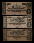 Confederate Notes:1864 Issues, T67 $20 1864.. T68 $10 1864. Two Examples.. ... (Total: 3 notes)