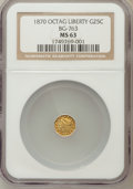 California Fractional Gold: , 1870 25C Liberty Octagonal 25 Cents, BG-763, Low R.4, MS63 NGC. NGCCensus: (6/1). PCGS Population (15/4). (#10590)...