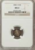 Seated Half Dimes: , 1858 H10C MS61 NGC. NGC Census: (18/517). PCGS Population (10/399).Mintage: 3,500,000. Numismedia Wsl. Price for problem f...