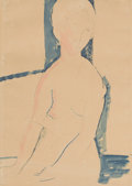 Fine Art - Work on Paper:Drawing, AMEDEO MODIGLIANI (Italian, 1884-1920). Femme nue assise,1916. Pencil and watercolor on paper. 15-1/2 x 11-1/2 inches (...