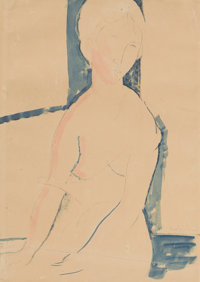 AMEDEO MODIGLIANI (Italian, 1884-1920) Femme nue assise, 1916 Pencil and watercolor on paper 15-1