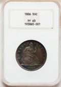 Proof Seated Half Dollars: , 1886 50C PR65 NGC. NGC Census: (22/25). PCGS Population (18/15).Mintage: 886. Numismedia Wsl. Price for problem free NGC/P...