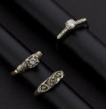 Estate Jewelry:Rings, Three Early Diamond & Gold Rings. ... (Total: 3 Items)