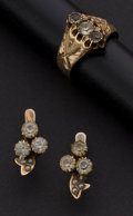 Estate Jewelry:Other , Early Gold & White Sapphire Ring & Earrings. ... (Total: 2 Items)