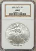 Modern Bullion Coins: , 2004 $1 Silver Eagle MS69 NGC. NGC Census: (97454/2022). PCGSPopulation (9552/100). Numismedia Wsl. Price for problem fre...