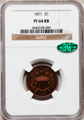 Proof Two Cent Pieces, 1871 2C PR64 Red and Brown NGC. CAC....