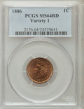 Indian Cents, 1886 1C Type One MS64 Red PCGS....