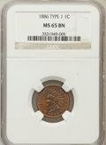 Indian Cents: , 1886 1C Type One MS65 Brown NGC. NGC Census: (55/16). PCGSPopulation (4/0). Mintage: 17,654,290. Numismedia Wsl. Price for...