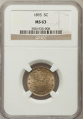Liberty Nickels: , 1895 5C MS63 NGC. NGC Census: (80/175). PCGS Population (101/187).Mintage: 9,979,884. Numismedia Wsl. Price for problem fr...