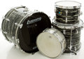 Musical Instruments:Drums & Percussion, 1970's Ludwig Black Swirl Olive Badge Drum Set, #57717....