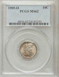 Barber Dimes: , 1905-O 10C MS62 PCGS. PCGS Population (12/96). NGC Census: (18/97).Mintage: 3,400,000. Numismedia Wsl. Price for problem f...