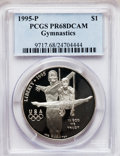 Modern Issues: , 1995-P $1 Olympic/Gymnastics Silver Dollar PR68 Deep Cameo PCGS.PCGS Population (150/1669). NGC Census: (33/1893). Numism...