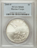 Modern Issues, 2005-P $1 Marine Corps MS68 PCGS. PCGS Population (90/4467). NGCCensus: (15/11315). Numismedia Wsl. Price for problem fre...