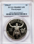 Modern Issues: , 1996-P $1 Olympic/Paralympics Silver Dollar PR68 Deep Cameo PCGS.PCGS Population (184/1326). NGC Census: (44/1164). Numis...
