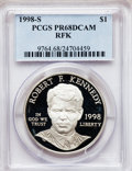 Modern Issues: , 1998-S $1 Robert F. Kennedy Silver Dollar PR68 Deep Cameo PCGS.PCGS Population (116/1037). NGC Census: (21/1256). Numisme...