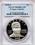 Modern Issues, 1998-S $1 Black Patriots Silver Dollar PR68 Deep Cameo PCGS. PCGSPopulation (188/1321). NGC Census: (18/1258). Numismedia...