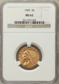 Indian Half Eagles: , 1909 $5 MS62 NGC. NGC Census: (1886/1032). PCGS Population(1278/1190). Mintage: 627,138. Numismedia Wsl. Price for problem...