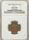 Half Cents: , 1849 1/2 C Large Date MS62 Brown NGC. C-1. NGC Census: (42/81).PCGS Population (34/68). Mintage: 39,864. Numismedia Wsl. ...