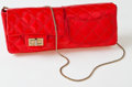 Luxury Accessories:Bags, Heritage Vintage: Chanel Red Patent Leather Double-SidedFlap Clutch with Chain. ...