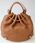 Luxury Accessories:Bags, Heritage Vintage: Bottega Veneta Beige Woven Leather withLizard and Crocodile Trim Oversized Hobo Bag. ...