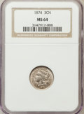 Three Cent Nickels: , 1874 3CN MS64 NGC. NGC Census: (53/24). PCGS Population (54/35).Mintage: 789,300. Numismedia Wsl. Price for problem free N...