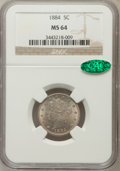 Liberty Nickels: , 1884 5C MS64 NGC. CAC. NGC Census: (113/96). PCGS Population(148/88). Mintage: 11,273,942. Numismedia Wsl. Price for probl...