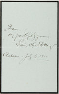 Autographs:Artists, Edwin Austin Abbey (1852-1911, American Artist and Painter). SignedNote. July 6, 1900. Approximately 7 x 4.5 inches. One ho...