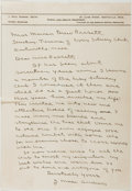 Autographs:Authors, James Mace Andress (1881-1942, American Writer and Psychologist).Autograph Letter Signed. Approximately 10.5 x 7.25 inches....