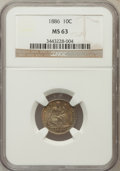 Seated Dimes: , 1886 10C MS63 NGC. NGC Census: (94/301). PCGS Population (115/237).Mintage: 6,376,684. Numismedia Wsl. Price for problem f...