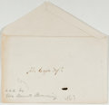 Autographs:Authors, Elizabeth Barrett Browning (1806-1861, British Poet). Envelope Addressed in Browning's Hand. Small envelope, approximately 2...