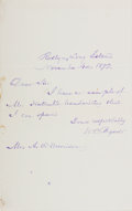 Autographs:Authors, William Cullen Bryant. (1794-1878, American Romantic Poet). Autograph Letter Signed. Roslyn: November 4, 1873. Single sheet ...