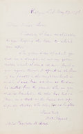 Autographs:Authors, William Cullen Bryant. (1794-1878, American Romantic Poet).Autograph Letter Signed. Roslyn: May 27, 1876. Addressed to Char...