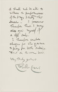 Autographs:Artists, Walter Crane (1845-1915, British Artist and Illustrator). AutographLetter Signed. Kensington: Nov. 16th, 1904. Addressed to...