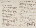 Autographs:Artists, George Cruikshank (1792-1878, British Artist and Illustrator).Autograph Letter Signed. Hampstead Road, Feb. 7th 1874. Addre...