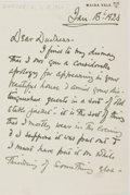 Autographs:Artists, Frank Dicksee. (1853-1928, English Painter). Autograph Letter Signed. Maida Vale: Jan. 18th, 1924. Single sheet, written on ...