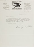 Autographs:Authors, George Dillon (1906-1968, American Poet). Typed Letter Signed.Chicago: January 3, 1938. Approximately 8.5 x 6.25 inches. Tw...