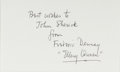 Autographs:Authors, Frederic Dannay [Ellery Queen] (1905-1982, American Mystery Writer). Signed and Inscribed Note Card. Approximately 3 x 5 inc...