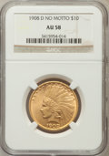 Indian Eagles: , 1908-D $10 No Motto AU58 NGC. NGC Census: (290/418). PCGSPopulation (204/376). Mintage: 210,000. Numismedia Wsl. Pricefor...