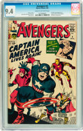 Silver Age (1956-1969):Superhero, The Avengers #4 (Marvel, 1964) CGC NM 9.4 Cream to off-white pages....