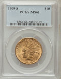 Indian Eagles: , 1909-S $10 MS61 PCGS. PCGS Population (52/223). NGC Census:(85/148). Mintage: 292,350. Numismedia Wsl. Price for problem f...