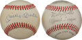 Baseball Collectibles:Balls, Mickey Mantle Single Signed and Unsigned Baseballs Lot of 2....