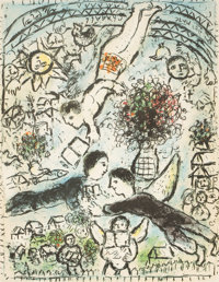 MARC CHAGALL (Belorussian, 1887-1985) The Sky (Le Ciel), 1984 Color lithograph 24 x 19 inches (61