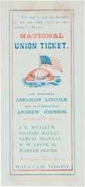 Political:Small Paper (pre-1896), Lincoln & Johnson: A Rare, Colorful 1864 Electoral Ticket with Jugate Portraits on Reverse Side....